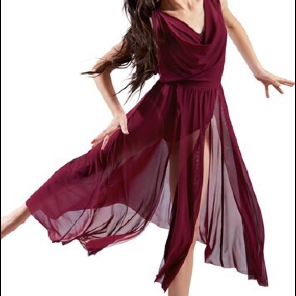 Balera Double Cowl Mesh Dance Dress